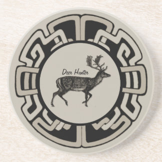 Personalized Deer Hunter Medallion Sandstone Coaster