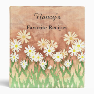 Personalized Delicate Dasies Recipe Book 3 Ring Binder