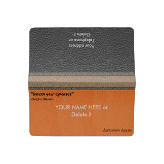 Personalized Delphic Maxim GOVERN YOUR EXPENSES En Checkbook Cover
