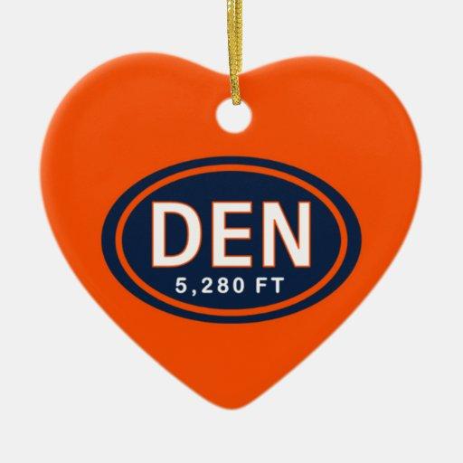 Personalized Denver CO 5,280 FT Heart Ornament