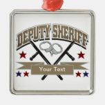Personalized Deputy Sheriff Square Metal Christmas Ornament