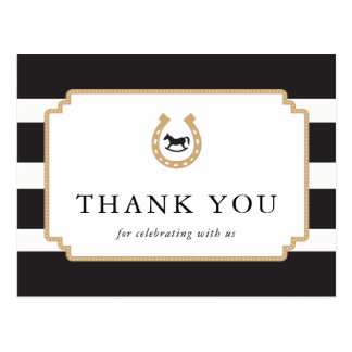Personalized Derby Thank You Postcard Baby Shower