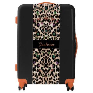 Personalized Desert Rainbow Leopard Print Luggage