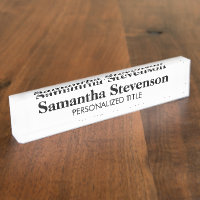 Personalized desk name plate with business tittle