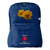 Personalized Diabetes Floral Medical Alert Backpack