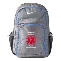 Personalized Diabetes  Medical Alert Nike Backpack