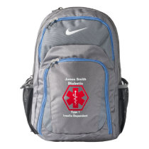Personalized Diabetes  Medical Alert Nike Backpack