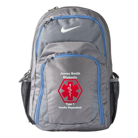 bac4534132 Personalized Diabetes Medical Alert Nike Backpack
