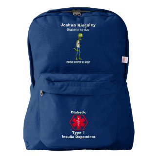 Personalized Diabetes Zombie Hunter Medical Alert Backpack