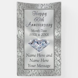 Personalized Diamond 60th Anniversary Banners