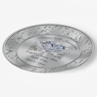 Personalized Diamond 60th Anniversary Paper Plates at Zazzle