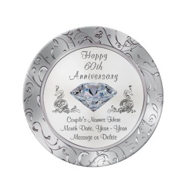 anniversarie Personalized Diamond 60th Anniversary Plate