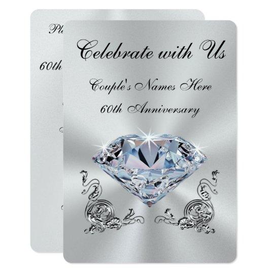 Personalized Diamond Anniversary Invitations Zazzle Com