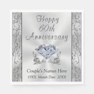 Personalized Diamond Anniversary Napkins, Stunning Napkin at Zazzle