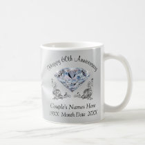 Personalized DIAMOND Happy 60th Anniversary Gifts Coffee Mug