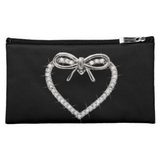 Personalized Diamond Heart And Bow Cosmetic Bag