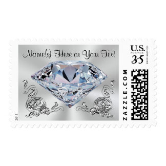 Personalized Diamond Invitation Stamps YOUR TEXT