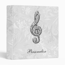 Personalized Diamond Music Note Floral Damask Binder