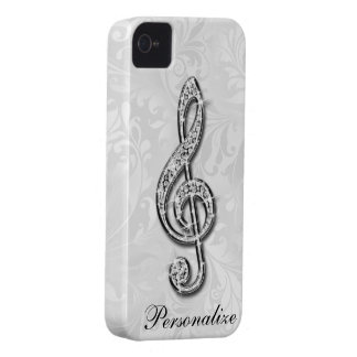 Personalized Diamond Music Note Floral Damask Case-Mate iPhone 4 Case