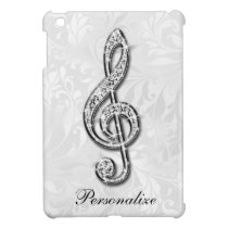 Personalized Diamond Music Note Floral Damask Cover For The iPad Mini