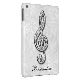 Personalized Diamond Music Note Floral Damask iPad Air Cover