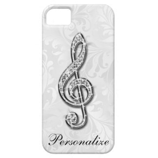 Personalized Diamond Music Note Floral Damask iPhone SE/5/5s Case