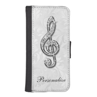 Personalized Diamond Music Note Floral Damask iPhone SE/5/5s Wallet