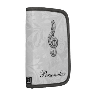 Personalized Diamond Music Note Floral Damask Planner