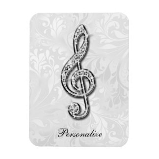 Personalized Diamond Music Note Floral Damask Rectangular Photo Magnet