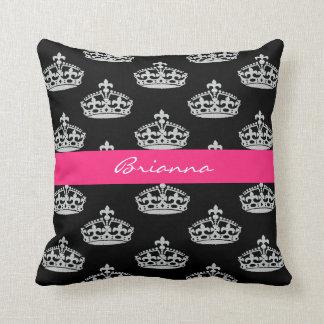 Personalized Diamond Princess Crown Throw Pillow
