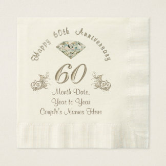 Personalized Diamond Wedding Anniversary Napkins