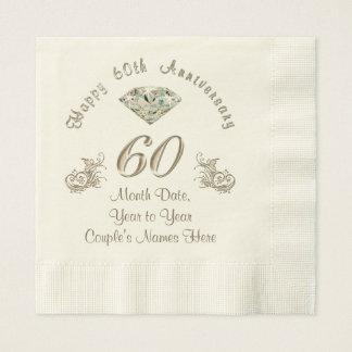 Personalized Diamond Wedding Anniversary Napkins