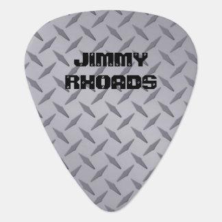 Personalized Diamondplate Steel Look Guitar Picks