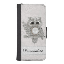 Personalized Diamonds Owl & Paisley Lace Image iPhone SE/5/5s Wallet Case
