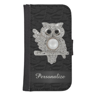 Personalized Diamonds Owl & Ruffled Silk Image Wallet Phone Case For Samsung Galaxy S4