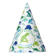Personalized Dinosaur Birthday Party Pattern Kids Party Hat