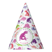 Personalized Dinosaur Birthday Party Pattern Pink Party Hat