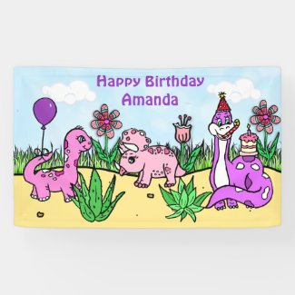Personalized Dinosaur Girl's Birthday Party Banner
