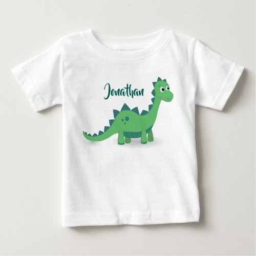 Personalized dinosaur green blue kids t_shirt