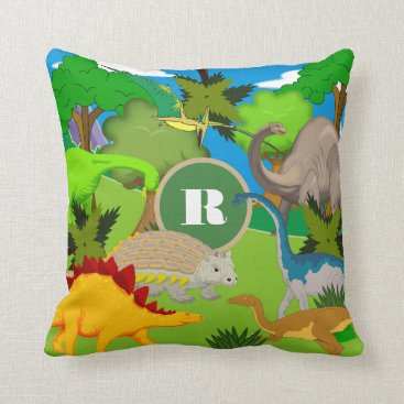 Beach Themed Personalized Dinosaur Land Throw Pillow