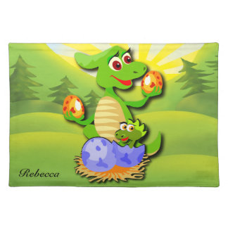 Personalized Dinosaur mother and baby cartoon Cloth Placemat