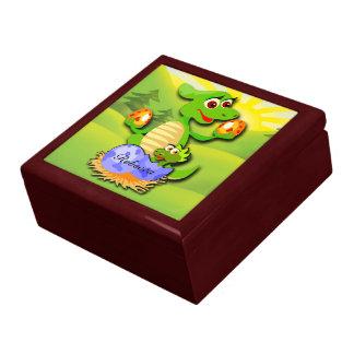 Personalized Dinosaur mother and baby cartoon Keepsake Box