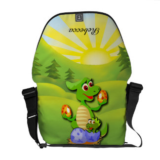 Personalized Dinosaur mother and baby cartoon Courier Bag