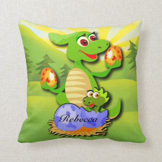 Personalized Dinosaur mother and baby cartoon Pillow