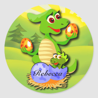 Personalized Dinosaur mother and baby cartoon Classic Round Sticker