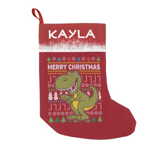 Personalized Dinosaur Wildlife Christmas Sweater Small Christmas Stocking