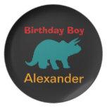 Personalized Dinosuar Birthday Boy Melamine Plates