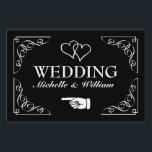"Personalized directional wedding signage yard sign<br><div class=""desc"">Elegant personalized black and white wedding yard sign pointing left. Help guests find their way to your reception party. Classy design with ornate swirly corners, interlocking hearts and name of bride and groom. Fancy script typography. Also available for left direction. Personalizable directional road signage board. Also handy for parking or...</div>"