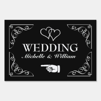 Personalized directional wedding signage yard sign