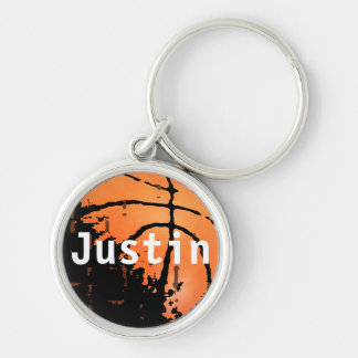 Personalized Distressed Basketball with Name Silver-Colored Round Keychain